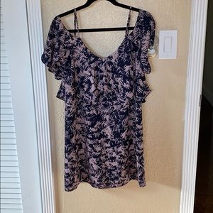 Cold shoulder print dress. Worn once!!